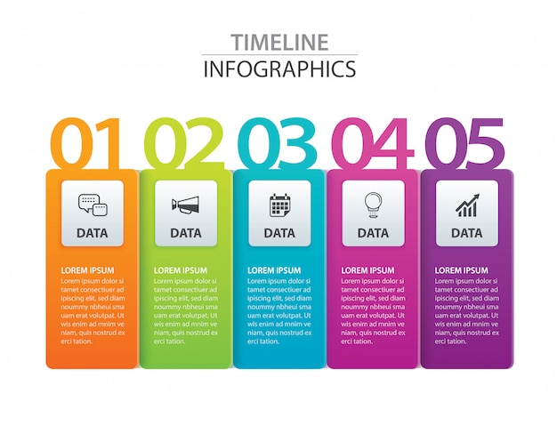Infographics tab paper index with 5 data template.