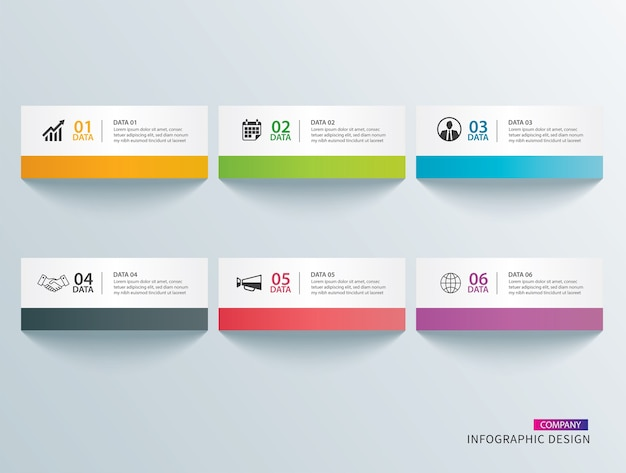Infographics tab paper index with 6 data template.