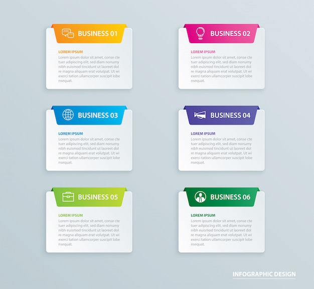Infographics tab paper index with 6 data template