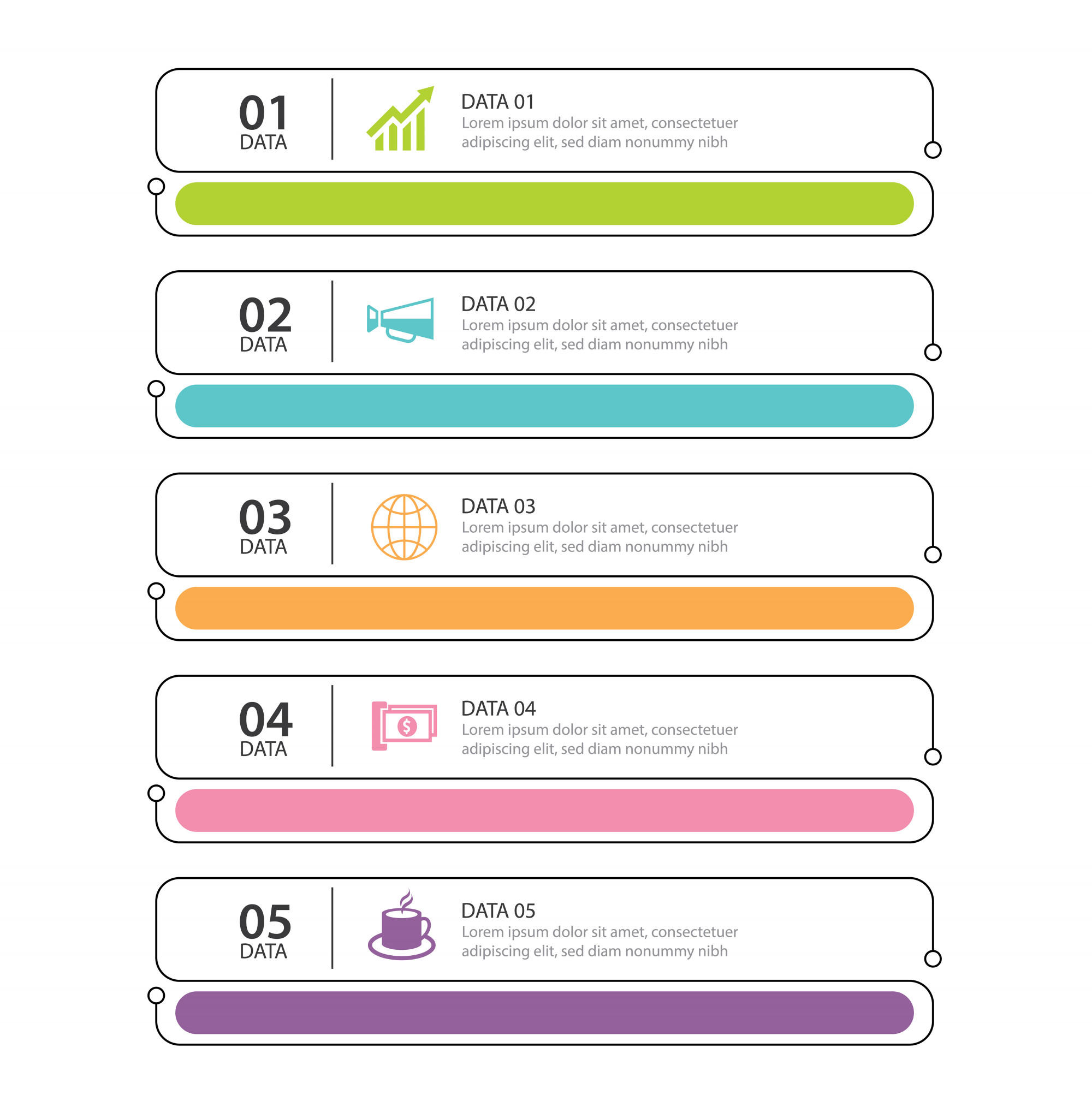 Infographics tab thin line index with 5 data template
