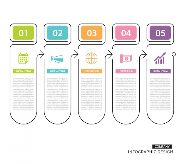 Infographics tab in thin line index with 5 data template