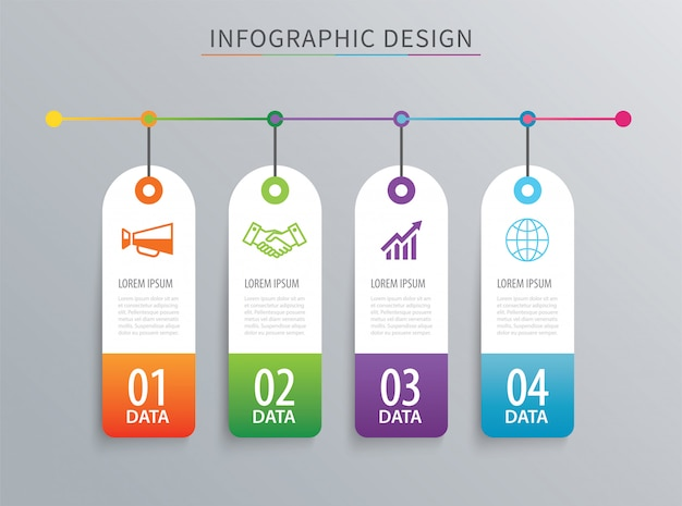 Infographics tag banner four option template.