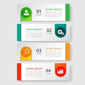 Infographics template 4 options with rectangle banner.
