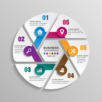 Infographics template 6 options with circle. data and information visualization.