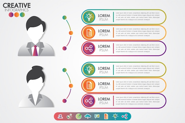Infographics template man and woman symbol avatar with icons set.