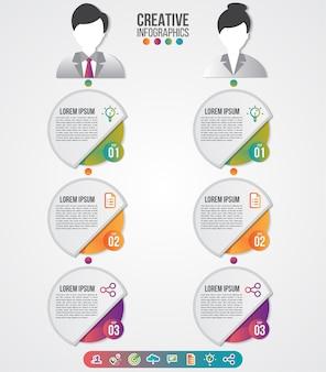 인포 그래픽 템플릿 남성과 여성은 프리젠 테이션을위한 아바타를 상징합니다. 워크 플로 레이아웃 다이어그램 비즈니스 단계 옵션에 사용할 수 있습니다.