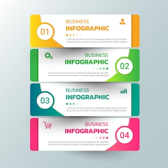 Infographics template options with rectangle banner