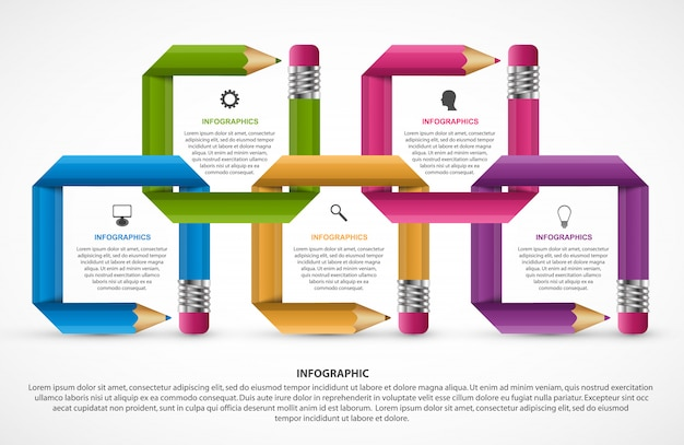 Infographics template. pencil with colored ribbons.