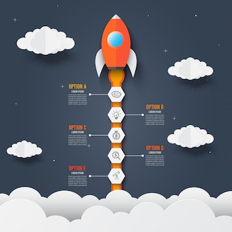 Infographics template of rocket through the clouds. successful startup.