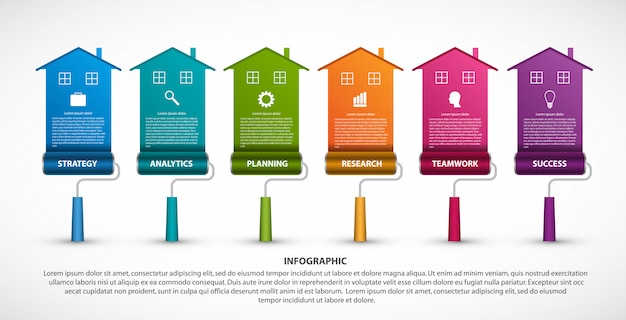 Infographics template, roller brushes painting at home.
