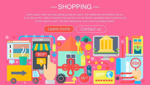 Infographics template for shopping online and e-commerce shopping