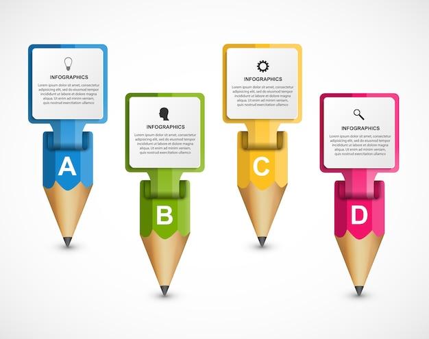 Инфографический шаблон с цветным карандашом в виде лент