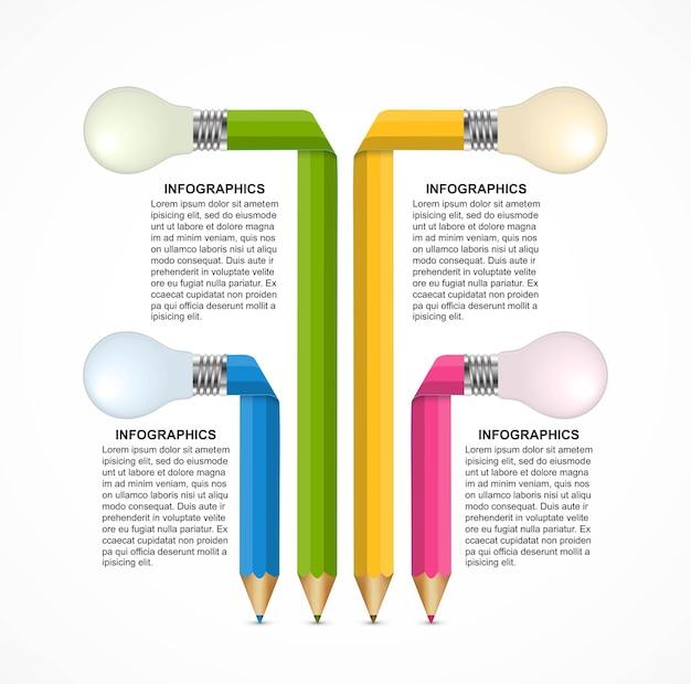 Шаблон инфографики с цветным карандашом.