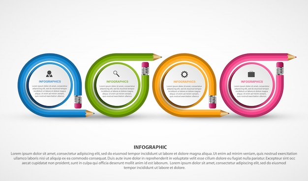 Infographics template with colored pencil.