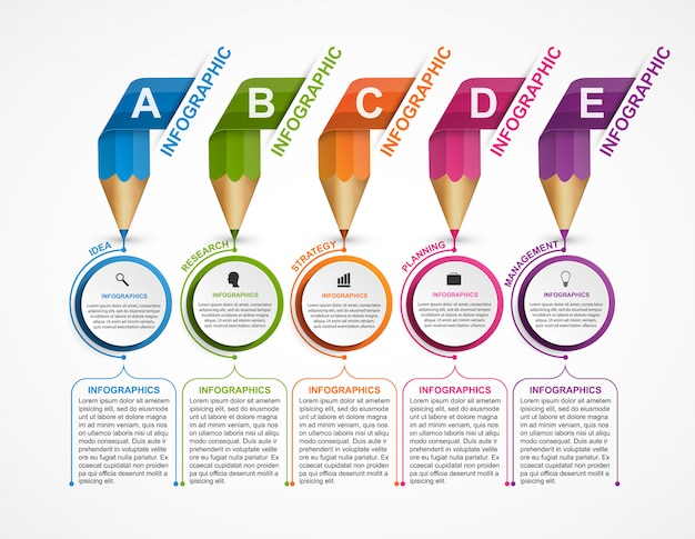 Infographics template with colored pencils.