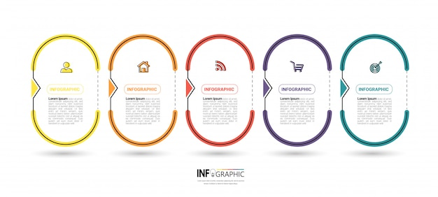 Infographics template with five steps