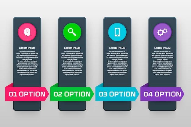 소재 스타일의 네 가지 옵션으로 인포 그래픽 템플릿입니다. 차트, 배너, 프리젠 테이션, 그래프, 보고서, 웹 등으로 사용할 수 있습니다.