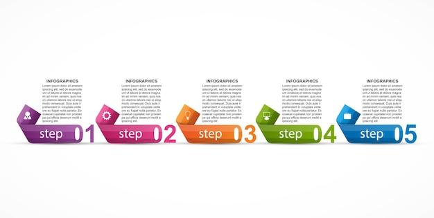 ビジネスプレゼンテーション用の数字オプション付きのインフォグラフィックテンプレート