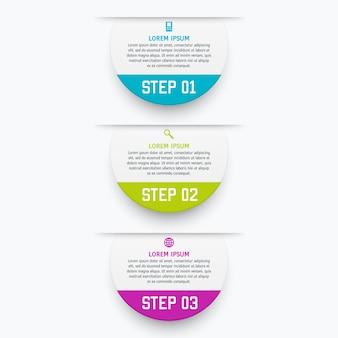 Инфографика шаблон с тремя вариантами в стиле материала. его можно использовать в качестве диаграммы, пронумерованного баннера, презентации, графика, отчета, сети и т. д.
