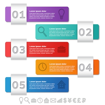 Инфографика шаблоны. инфографики кадры пять шагов, варианты, части, процесс.