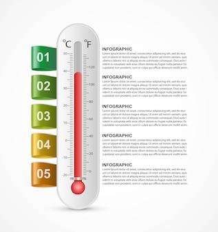 インフォグラフィック温度計のデザインテンプレート。