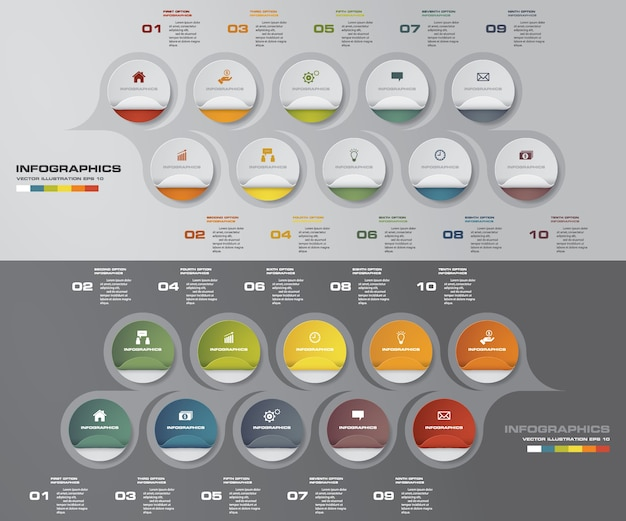 Infographics timeline with 10 steps for your presentation.