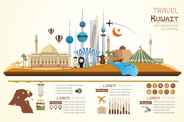 Infographics travel and landmark kuwait template design.