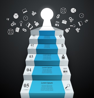 Infographics up the ladder to success. business stair.