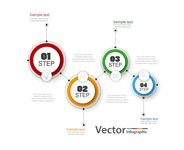 Infographics vector design template with 4 steps