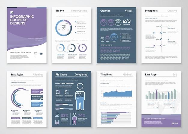 ビジネスパンフレットおよびチラシのためのinfographicsベクター要素