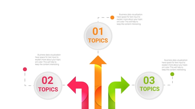 Infographics vector with 3 arrow