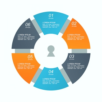 Infographics with 6 process chart