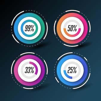 Cerchi infographic con percentuali