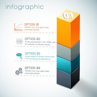 Infographics with  colorful column from geometric shapes and set of icons on white background