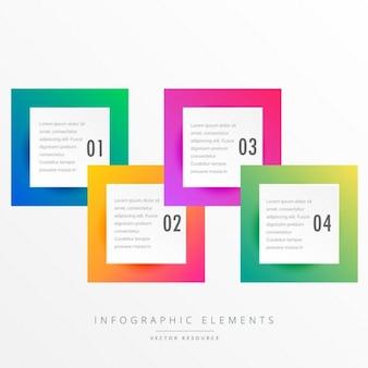 Colorati quattro quadrati modello infografica