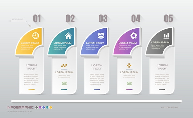 Infographics with five steps template with icons