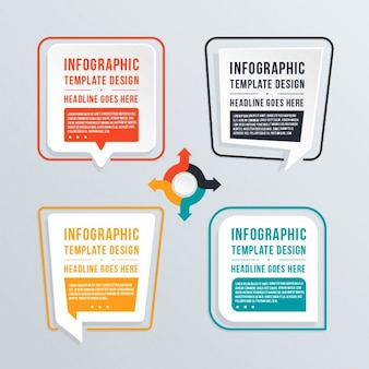 Infographics with four chat bubbles
