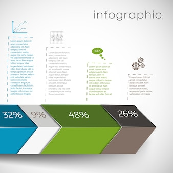 Infografica con forme geometriche e dati in grafici percentuali e impostazione su sfondo bianco