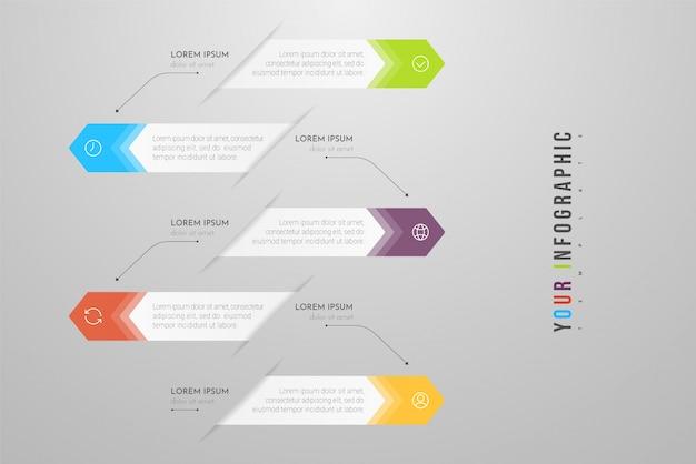 옵션, 단계 또는 프로세스가 포함 된 인포 그래픽. 순서도, 다이어그램, 프레젠테이션에 사용할 수 있습니다.