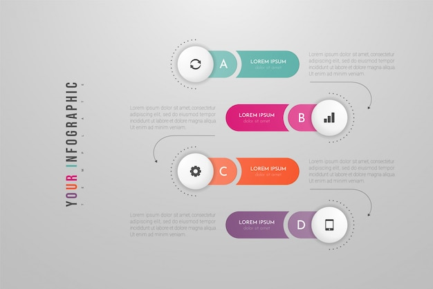 Infographics with options, steps or processes. can be used for, flow charts, diagram, presentations.