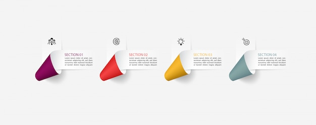Infographics with paper ribbon labels