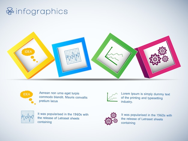 Infographics with row of 3d cubes and icons of charts and setting on white background vector illustration