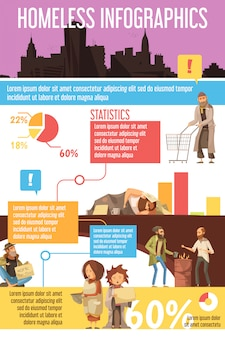 Infographics with silhouette of city homeless people including begging kids charts