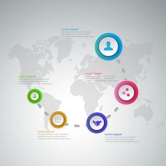 5 шагов инфографики с голубым пурпурным фиолетовым желтым и зеленым цветами