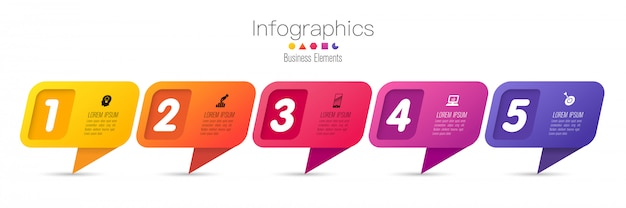 Infographics with steps and options