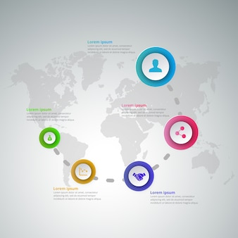 Infographics with steps on world map background