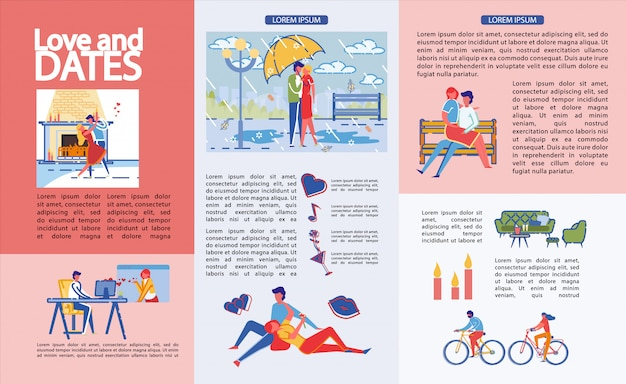 Infographics written love and dates, cartoon.