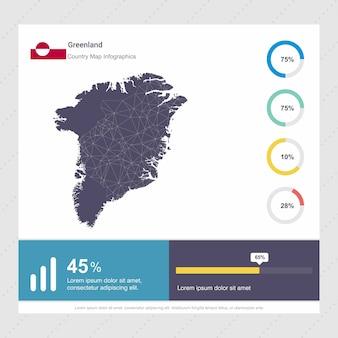 グリーンランドの地図とフラグinfographicsのテンプレート
