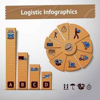 グラフとグラフのベクトル図のためのロジスティック輸送サービスのボール紙のinfographics要素