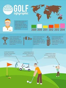 ゴルフのinfographicsセット